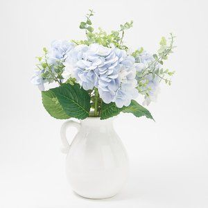 Real Touch Hydrangea and Eucalyptus in Glazed Jug